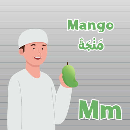 Arabic Fruit Name Infographic Kids With Mango Cartoon