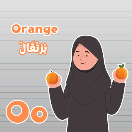 Little Arabian Girl With Oranges in Hand Cartoon Fruit Name Infographics