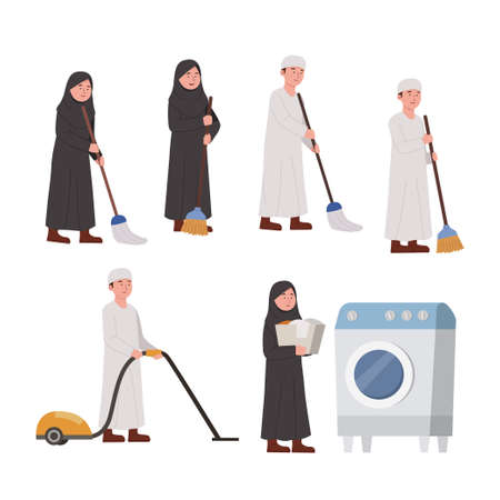 Set Arabian Kids Cleaning Home Activity Cartoon Illustration