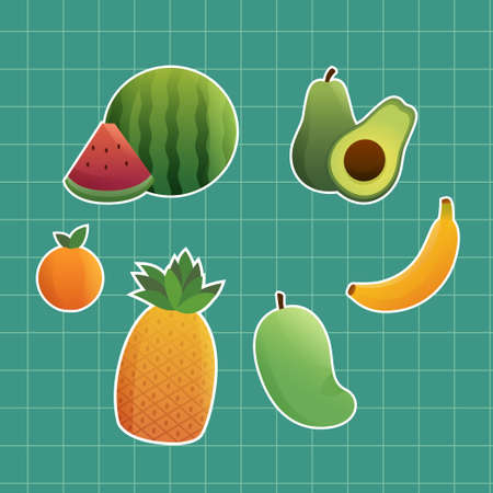 Set Fruit Sticker Cartoon Illustration