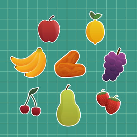 Set Tropical Fruits Sticker Cartoon Illustration