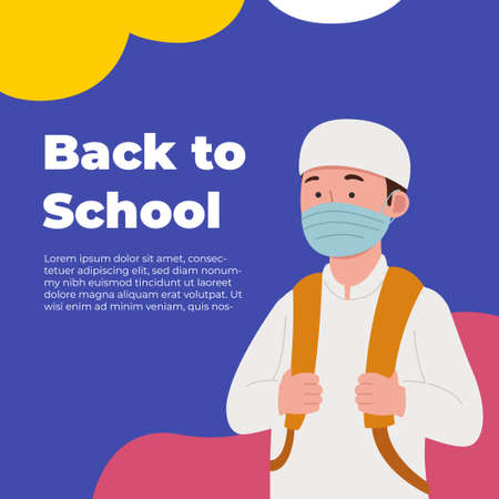Back to School Greeting Arabian Kids Wearing Mask Cartoon