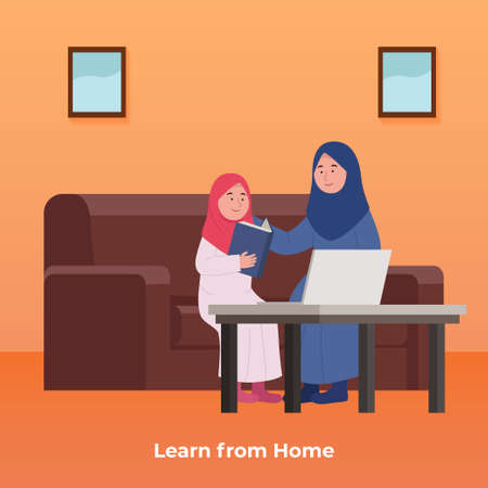 Online Study in Home, Arabian Little Girl Learn With Mother Cartoon Illustration Ilustrace