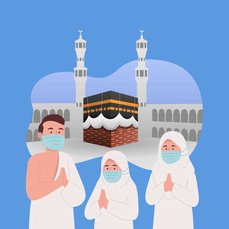 Muslim Family Wearing Ihram and Mask With Kaaba Background Hajj Greeting Illustration
