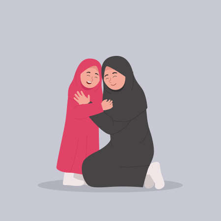 Happy Arabian Mother and Daughter Hug and Smile Together Ilustrace