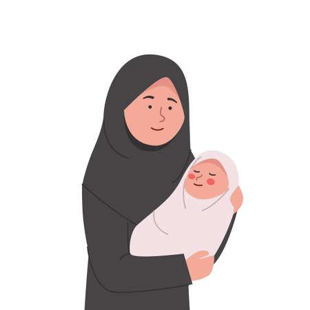 Happy Arabian Mother Hold Babyborn in Her Arms Cartoon Illustration Illustration
