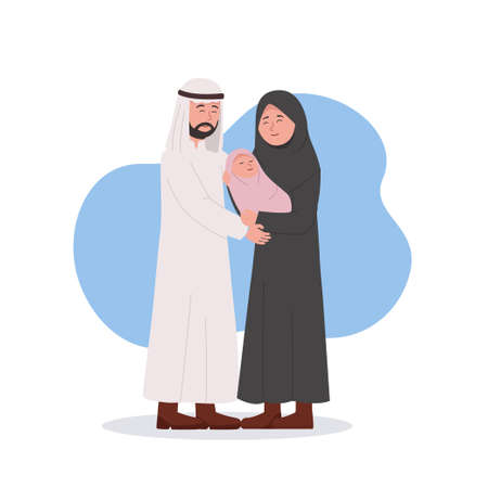 Arabian Couple Happy for Newborn Baby, Mother Hold Her Baby Vector Cartoon