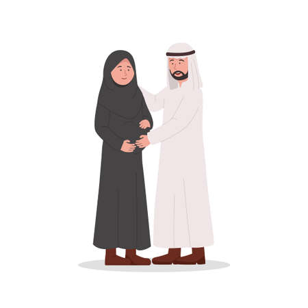 Happy Arabian Couple With Pregnant Wife Cartoon Illustration