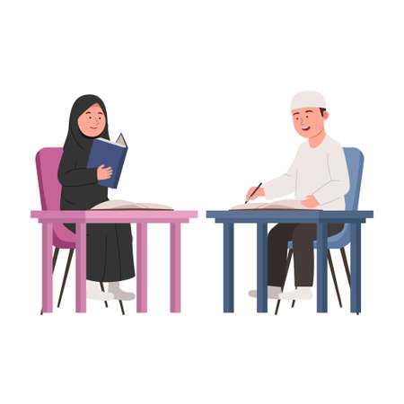 Arabian Kids Study Together Flat Cartoon Illustration