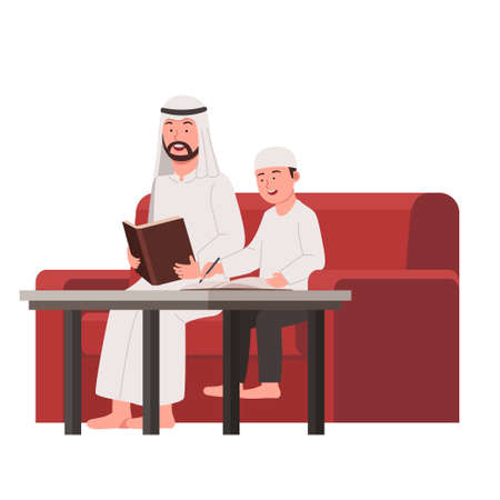 Arabian Father Teach His Son Study in Home Flat Cartoon