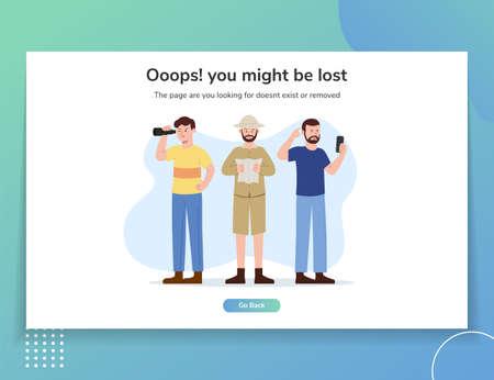 Error Website Landing Page Illustration UI template 일러스트