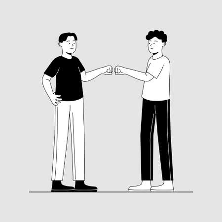 Fist Bump Gesture Two Friend, Brothership Symbol Flat Illustration
