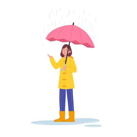Cute Woman Standing Under Rain With Umbrella Illustration