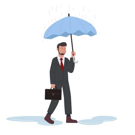 Businessman Walk Under Rain With Umbrella Illustration