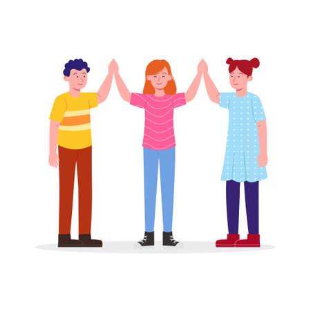 Happy Three Kids Cheering High Five Friendship Symbols Cartoon Illustration Ilustración de vector