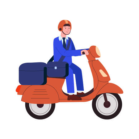 Postman Deliveries Mail and Packages Using Motor Scooter Flat Cartoon