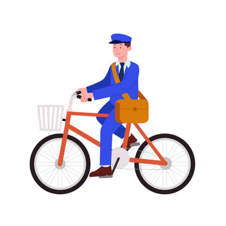 Postman Riding Bike on His Job Flat Cartoon Illustration