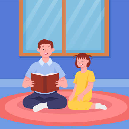 Father Telling Story Book With Daughter Flat Illustration