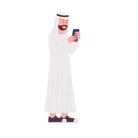 Arabian Hipster Man Play with Smartphone Flat Illustration