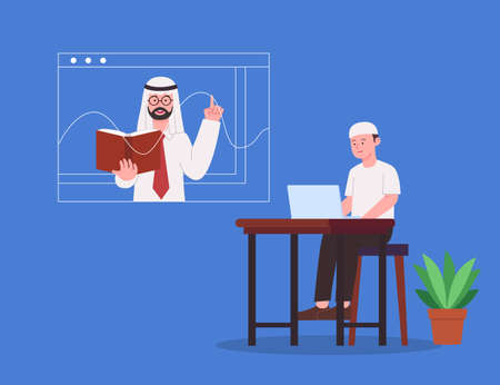 Online Education Arabian Teacher Explaining Lesson During Online Class to Remote Student Flat Illustration