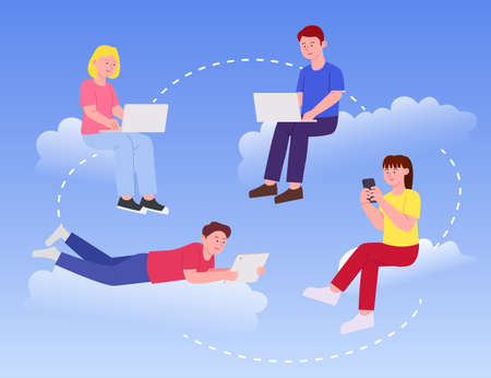 People Work in Cloud Sky Concept. Flat Illustration 矢量图像