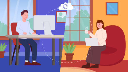 Remote Working from Home Concept. Work Illustration. 矢量图像