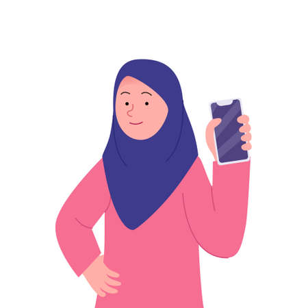 Smile Arabian Hijab Woman Showing the Smartphone 矢量图像
