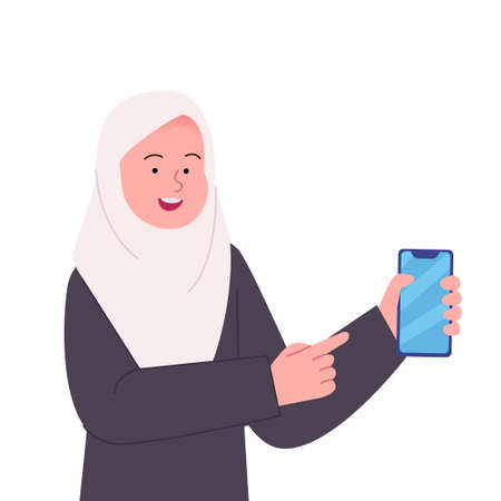 Happy Arabian hijab woman pointing to smartphone flat illustration