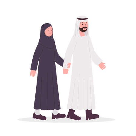 Arabian Couple Husband and Wife Walk Together Flat Illustration