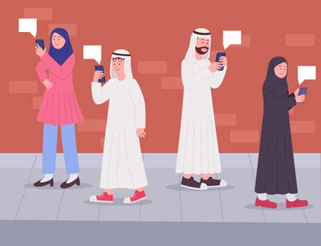 Arabian people look at to smartphone walking on the street flat illustration