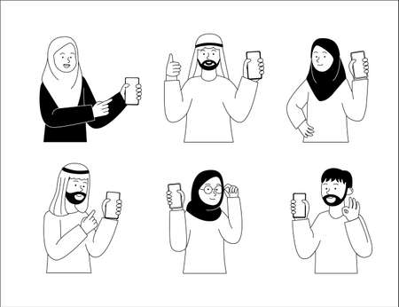 Group of arabian people show the smartphone flat outline illustration
