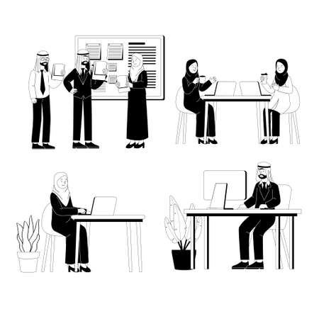 Set of Arabian Business Man and Woman Work Flat Illustration