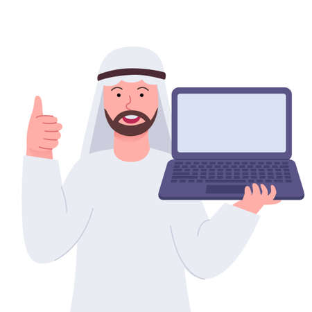 Arabian Man Thumbs Up And Showing Laptop 矢量图像