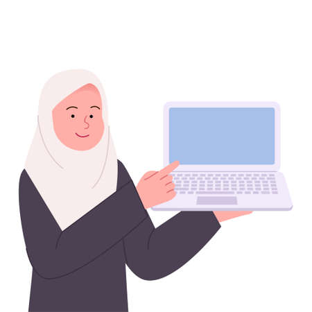 Hijab Woman Pointing to Laptop Flat Illustration