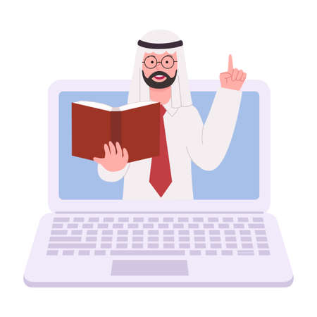 Arabian Man Sitting and Working With Laptop Flat Illustration