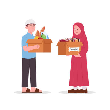Arabian Kids, Boy and Girl Hold Donate Box for Alms Illustration