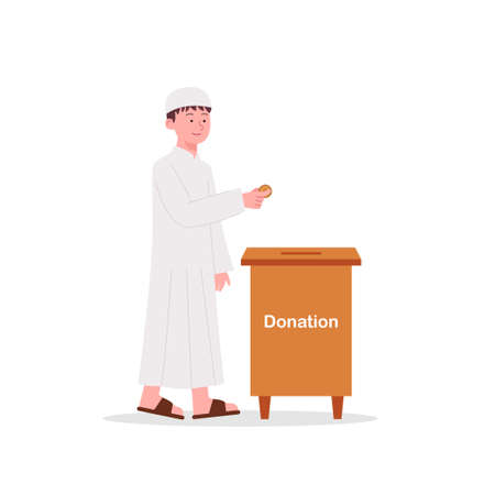 Cute Arabian Kids Donate His Money to Charity Box Illustration