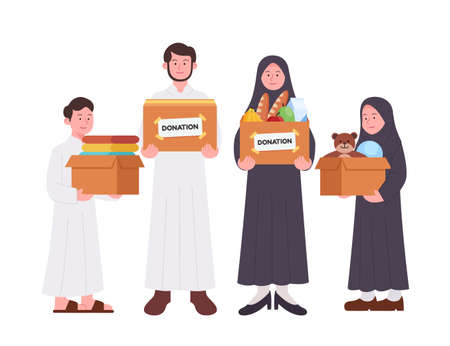 Set Group of Arabian Family Carrying Donation Box Illustration