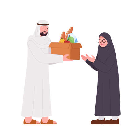 Arabian Man Giving Donation Box Food for Old Woman Illustration