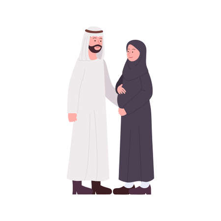 Happy Arabian Couple With Pregnancy Wife Illustration