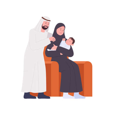 Happy Arabian Family Father and Mother See Newborn Baby