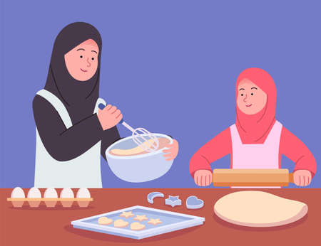 Arabian Mother Baking Together With Daughter Flat Illustration