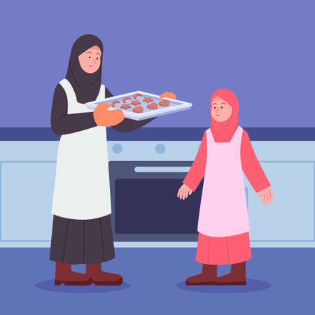 Arabian Mother With Daughter After Baking a Cake Illustration