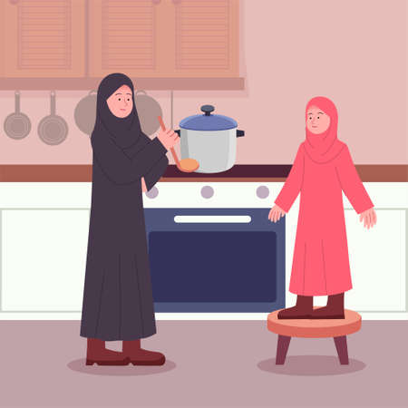 Happy Arabian Mother and Daughter in Kitchen
