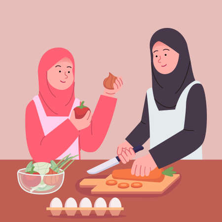 Arabian Mother and Daughter Preparing Cooking Together Illustration