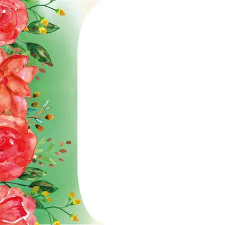 Spring theme template for greetings card with floral watercolor bouquets 矢量图像