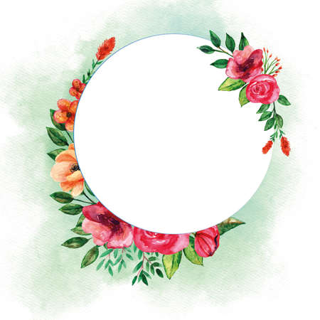 Round bouquets template with floral watercolor set for spring season decorations