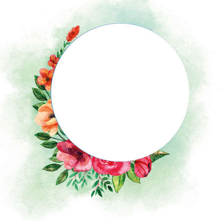 Round bouquets template with floral watercolor set for spring season invitation card or greetings card 矢量图像
