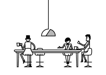 Line art illustration of modern office working space with employee staff worker having tea time at pantry area