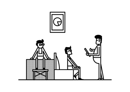 Line art illustration of modern office working space with employee staff worker discussing on sofa lounge area